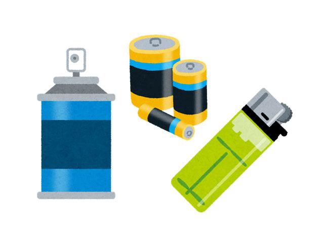 スプレー、電池、ライターごみ